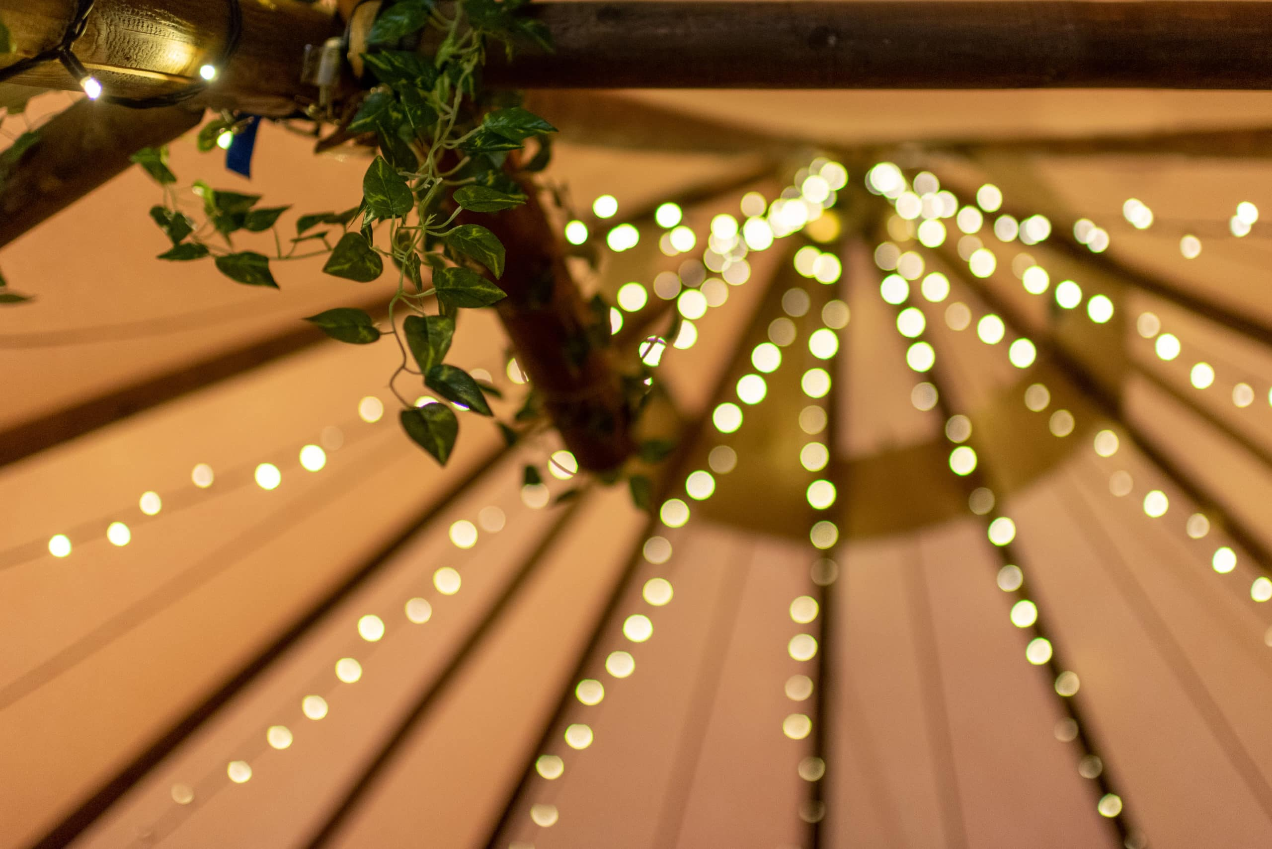 Fairly lights in a Nottingham Wedding venue tipi