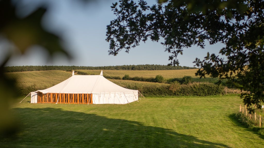 Marquee wedding venue in the sunshine