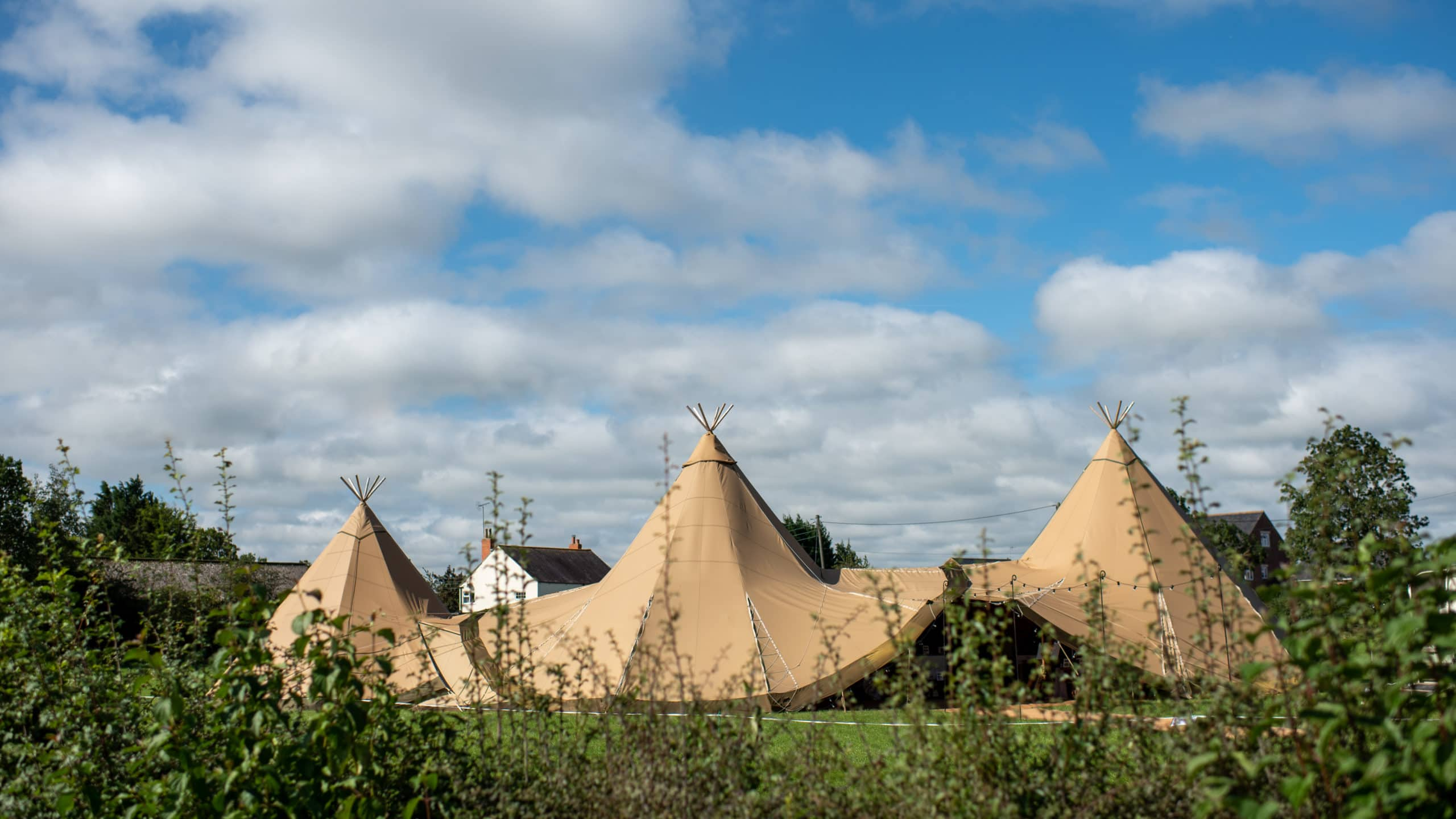 Tipi wedding venue in the sunshine