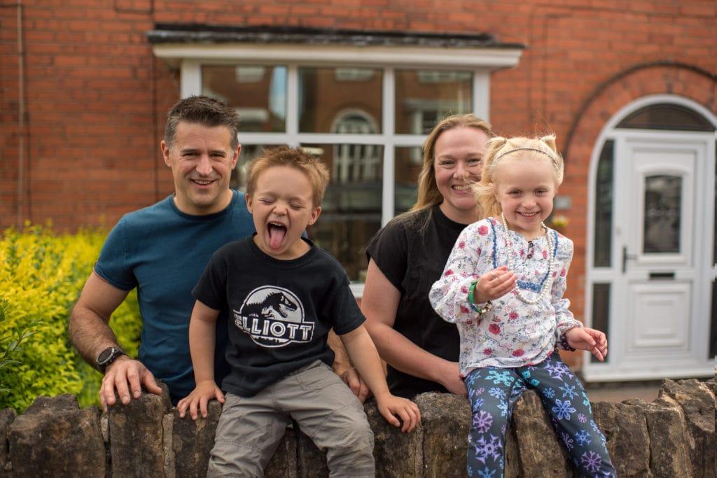 Family having fun during a doorstep shoot