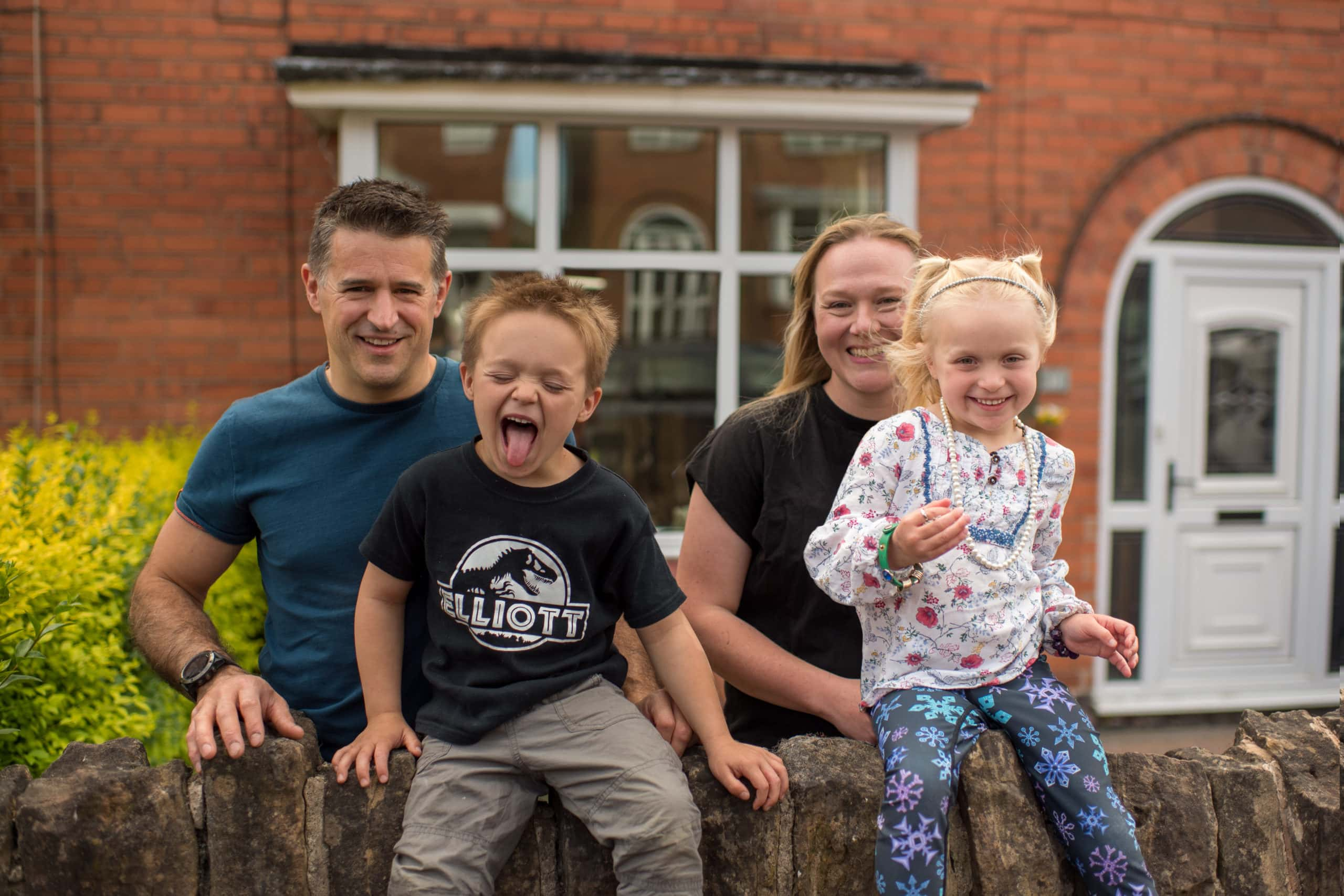 Family having fun during a doorstep shoot
