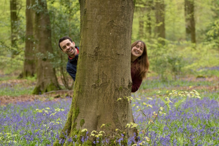Laura and Ashley's engagement in the bluebell woods