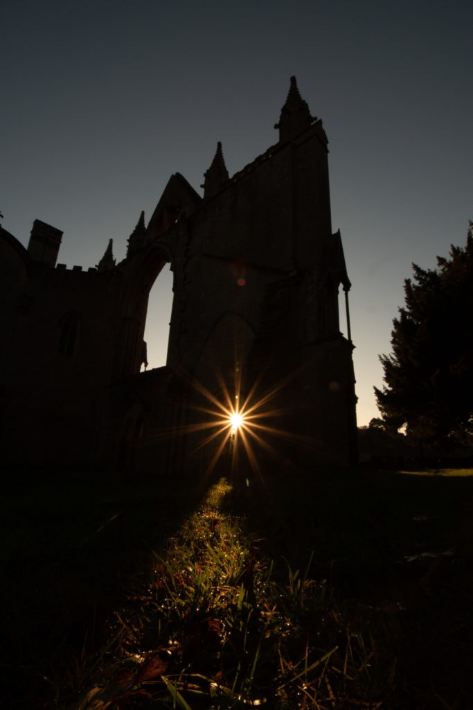 Sunset silhouette of Newstead Abbey