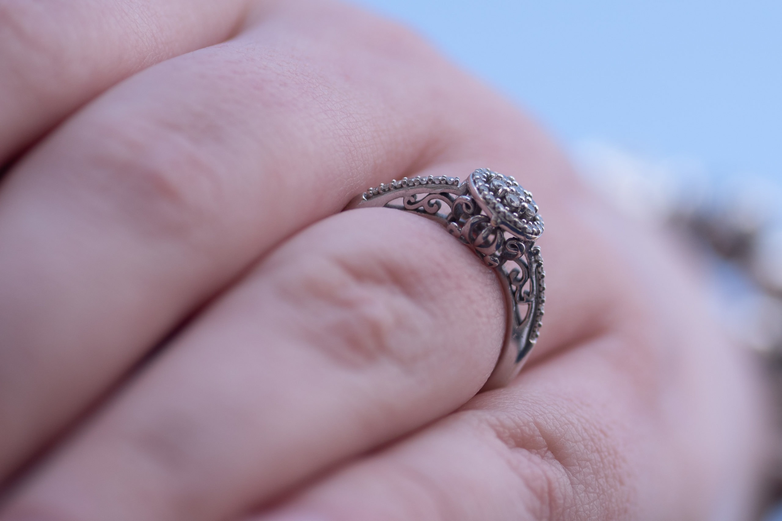 A close up of a Disney themed wedding ring